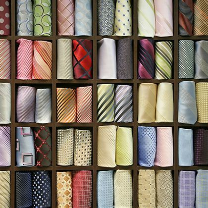 consumer products shelf with colourful ties